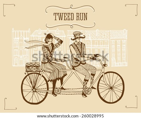 Retro hand drawn gentleman with mustaches and lady in tweed costumes on a tandem bicycle riding in old town.Illustration for tweed ride. - stock vector
