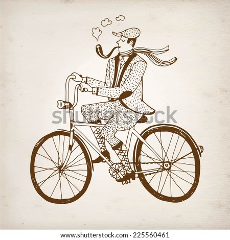 Retro hand drawn gentleman with smoking pipe in tweed costume on a bicycle.Illustration on paper background. - stock vector