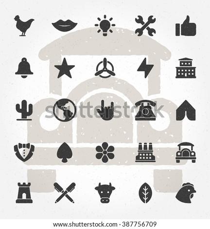 Retro Hand Drawn Icons. - stock vector