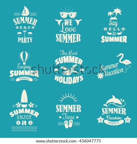 Retro hand drawn summer logo elements summer calligraphic designs. Vintage summer logo ornaments. Summer logo holidays tropical paradise, sea, sunshine summer logo, weekend tour adventure labels. - stock vector