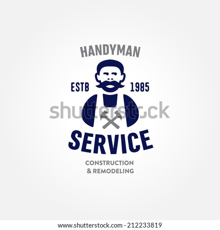 Retro Handyman carpenter corporate service badge symbol isolated on white background, good for creating logo design, vector illustration - stock vector