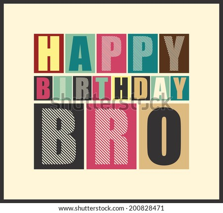 Retro Happy birthday card.  Vector illustration - stock vector