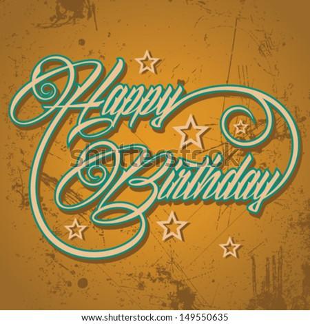 Retro  Happy Birthday greeting - vector illustration - stock vector