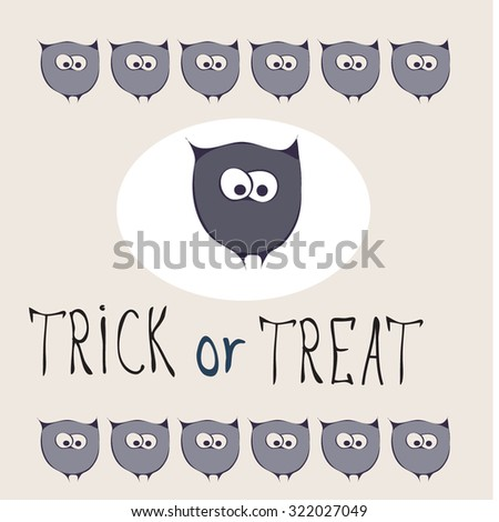 Retro Happy Halloween Badge, Sticker, Label. Design Element for Greetings Card or Party. Vector Illustration. Stylized cartoon violet funny owls. Trick or Treat Concept - stock vector