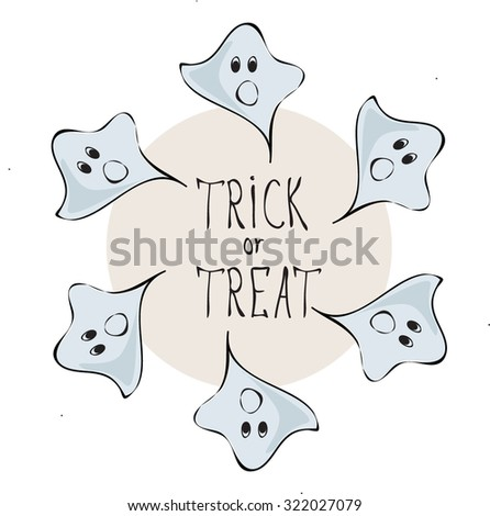Retro Happy Halloween Badge, Sticker, Label. Design Element for Greetings Card or Party. Vector Illustration. Stylized cartoon bluer funny ghosts. Trick or Treat Concept - stock vector