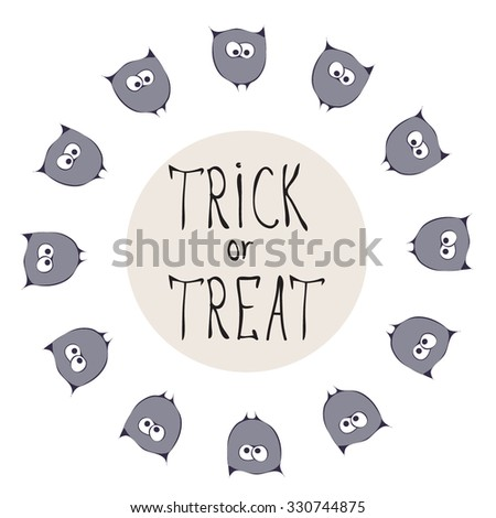 Retro Happy Halloween Badge, Sticker, Label. Design Element for Greetings Card or Party. Vector Illustration birds. Stylized cartoon violet owls. Trick or Treat Concept. festive items for halloween - stock vector