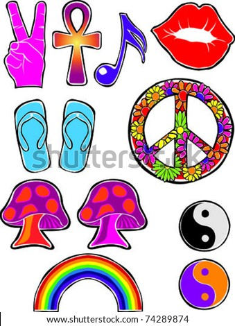 Retro Happy Hippie Set #2 of Flower Power Groovy Icons Vector Illustration - stock vector