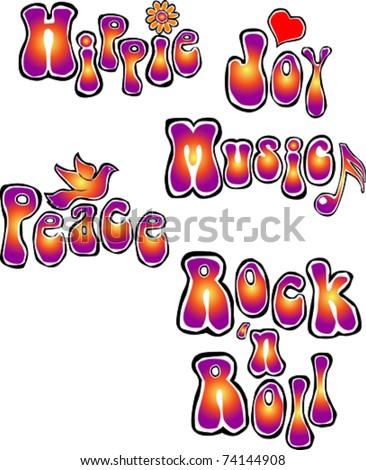Retro Happy Hippie Set #2 of Flower Power Groovy Words Vector Illustration - stock vector