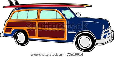 Retro Happy Hippie Vintage Tropical Surfboard Woody Car Vector Illustration - stock vector