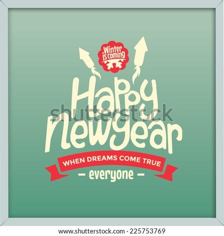 retro happy new year greeting card - stock vector