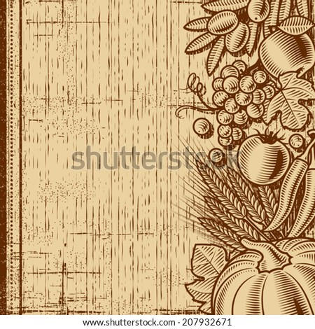 Retro harvest background. Monochrome editable vector illustration with clipping mask. - stock vector