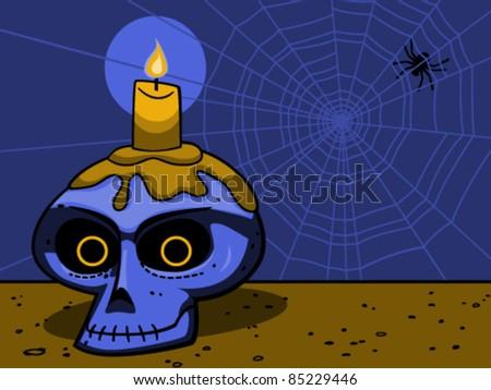 Retro Haunted Skull - stock vector