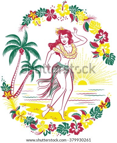 Retro Hawaiian design of hula girl dancing on a beach in front of tropical flowers and palm trees - stock vector