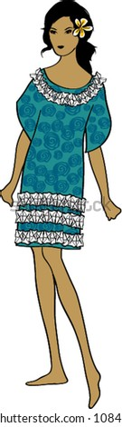 Retro Hawaiian Female Fashion Portrait Vector Illustration - stock vector