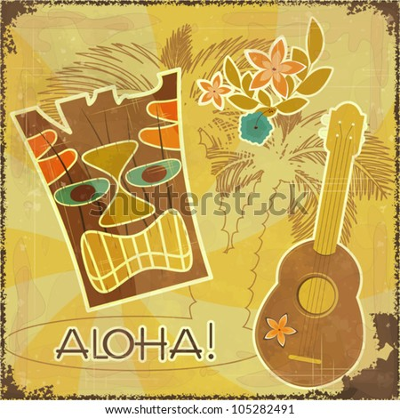 Retro Hawaiian postcard - invitation to Beach party - vector illustration