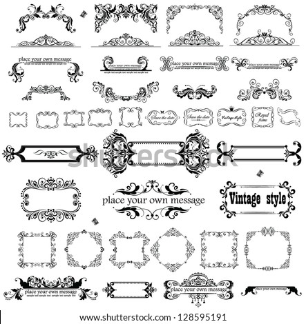 Retro heading and frames - stock vector