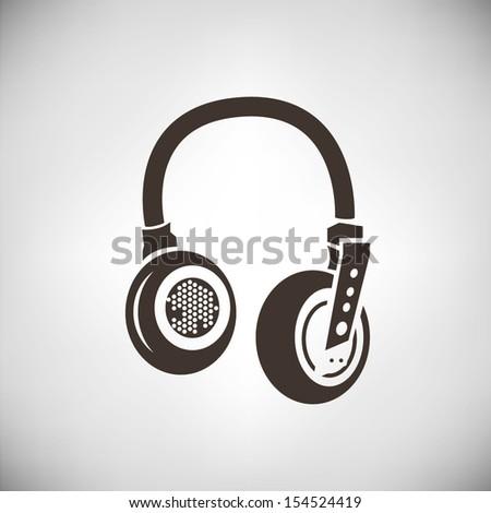 retro headphone - stock vector