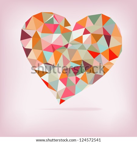 Retro heart made from color triangles.  + EPS8 vector file - stock vector