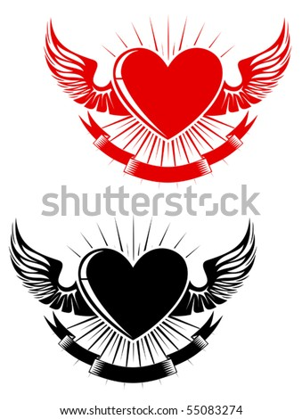 Retro heart with wings for tattoo design. Jpeg version also available - stock vector