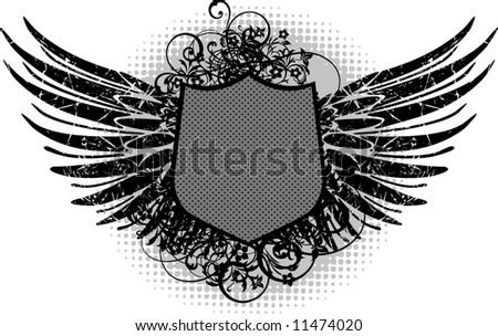 Retro heraldic wing - stock vector