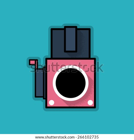 Retro Hipster Analog Camera - Vector Illustration - stock vector