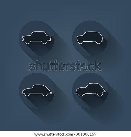 Retro, hipster line cars with long shadow. - stock vector