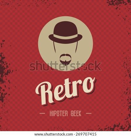 retro hipster male art - stock vector