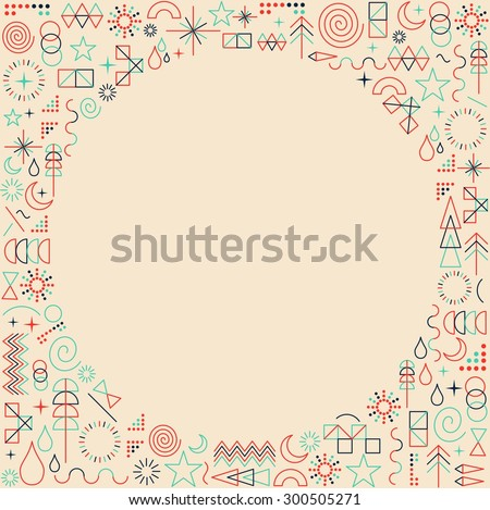 Retro hipster mono line frame background illustration with copy space. Ideal for print poster, book cover and greeting card design. EPS10 vector file. - stock vector