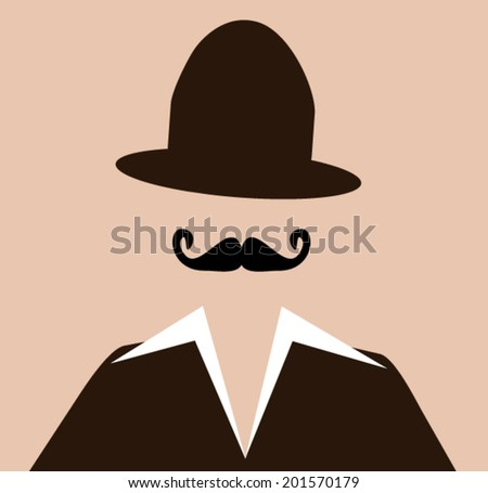 retro hipster wearing funky hat - stock vector