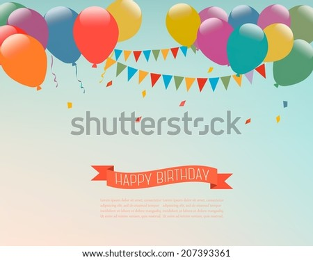 Retro holiday background with colorful balloons and a Happy Birthday ribbon. Vector. - stock vector