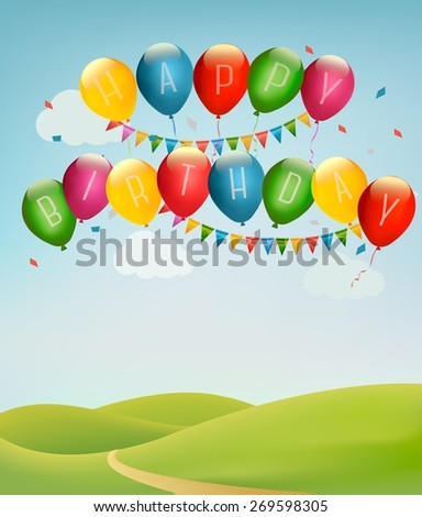 Retro holiday background with colorful balloons and landscape. Vector - stock vector