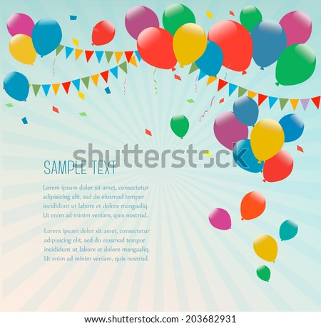 Retro holiday background with colorful balloons. Vector. - stock vector