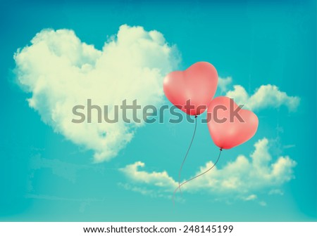 Retro Holiday background with heart shaped cloud on blue sky and red balloons. Valentine's Day. Vector illustration - stock vector