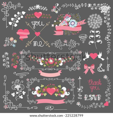 Retro Holiday design template set with floral decor,ribbons,pigeon,swirling border,arrow.For Wedding,bridal shower,Valentine's day,mother's day,birthday invitation,card.Vintage Vector - stock vector
