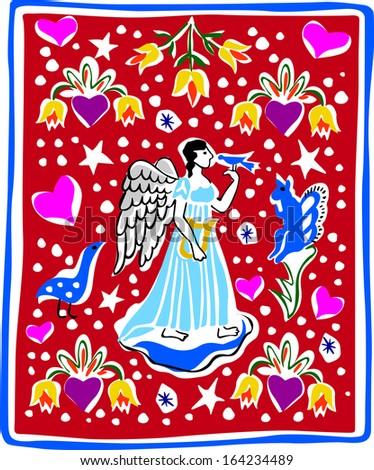 Retro Holiday Folk Angel Pattern Vector Illustration - stock vector