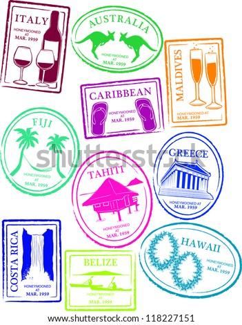 Retro Honeymoon Passport Stamps Vector Illustration - stock vector