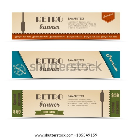 Retro horizontal banners set - stock vector
