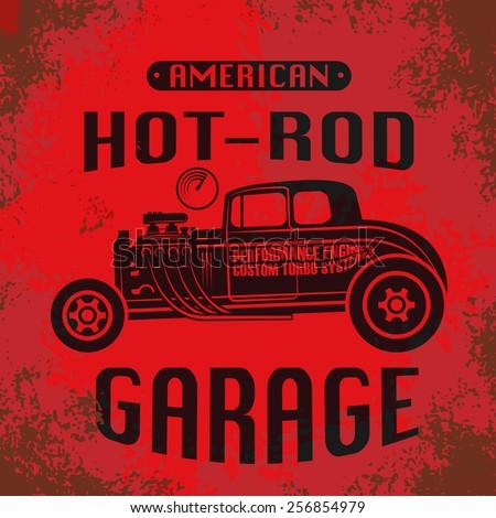 Retro Hot Rod poster, vector illustration - stock vector