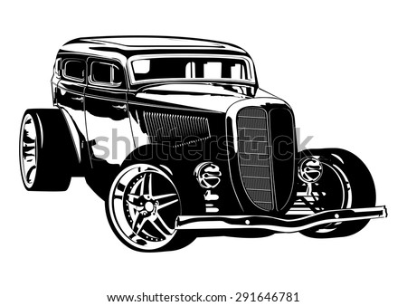 Retro Hotrod. Available EPS-8 vector format separated by groups and layers for easy edit - stock vector