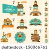 Retro house label set - stock vector