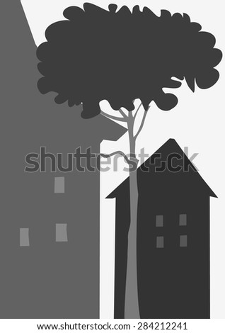 Retro house ,view,  silhouette  style, vector illustration - stock vector