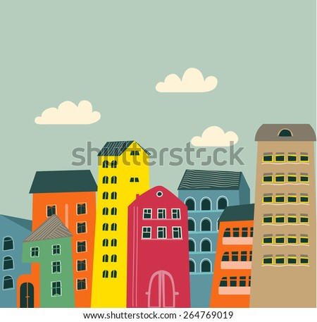 retro houses and clouds as background - stock vector