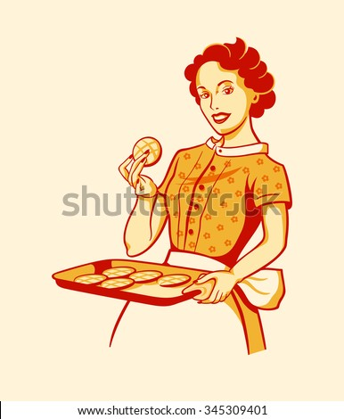 Retro housewife with fresh baked cookies - stock vector