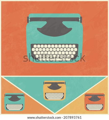 Retro Icon Design - Typewriter - stock vector