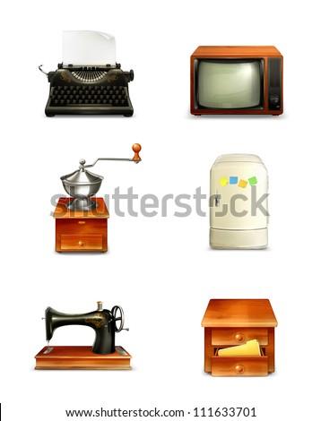 Retro icon set, vector - stock vector