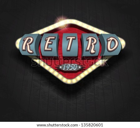 retro icon - signboard / Vector Poster - stock vector