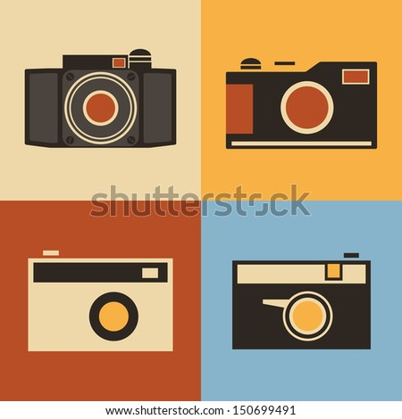 Retro Icons - Cameras - stock vector