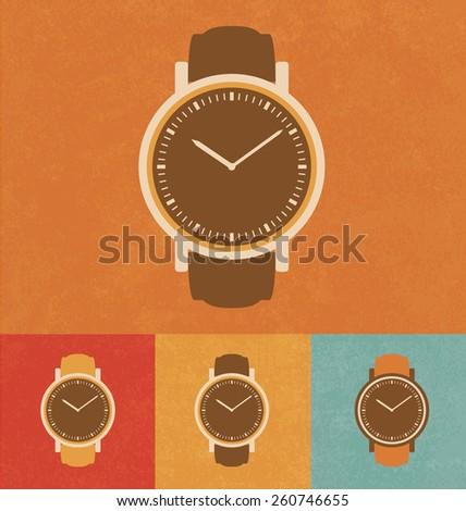Retro Icons - Classic Watch - stock vector