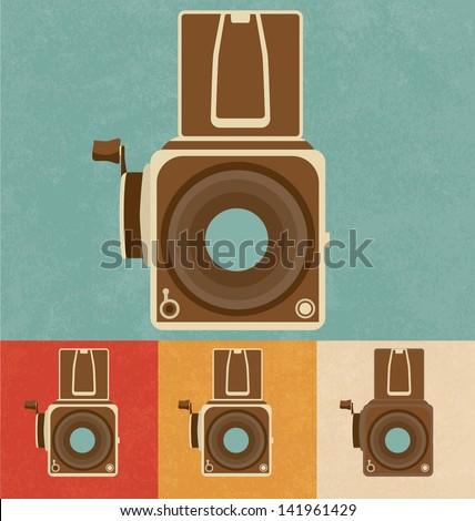 Retro Icons - Old Camera - stock vector