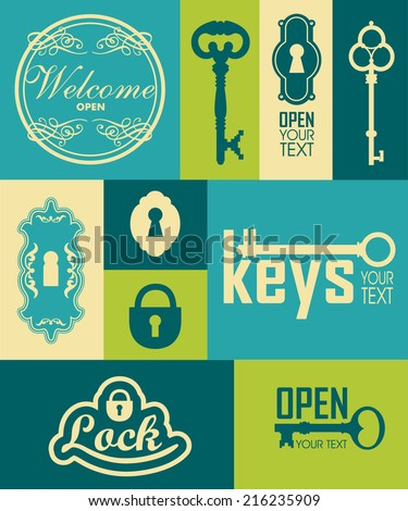Retro icons set of keys & lock. Silhouettes of key and frame. Vintage label with key. Key logo - stock vector